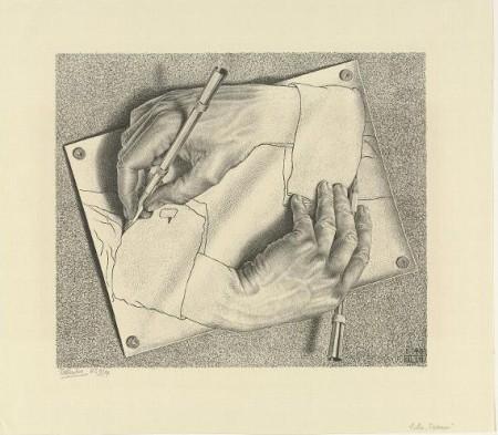 M.C. Escher, Drawing Hands, Rijksmuseum Collection, Amsterdam