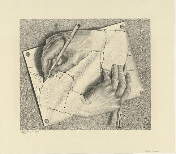 M.C. Escher, Writing Hands, Rijksmuseum Collection, Amsterdam